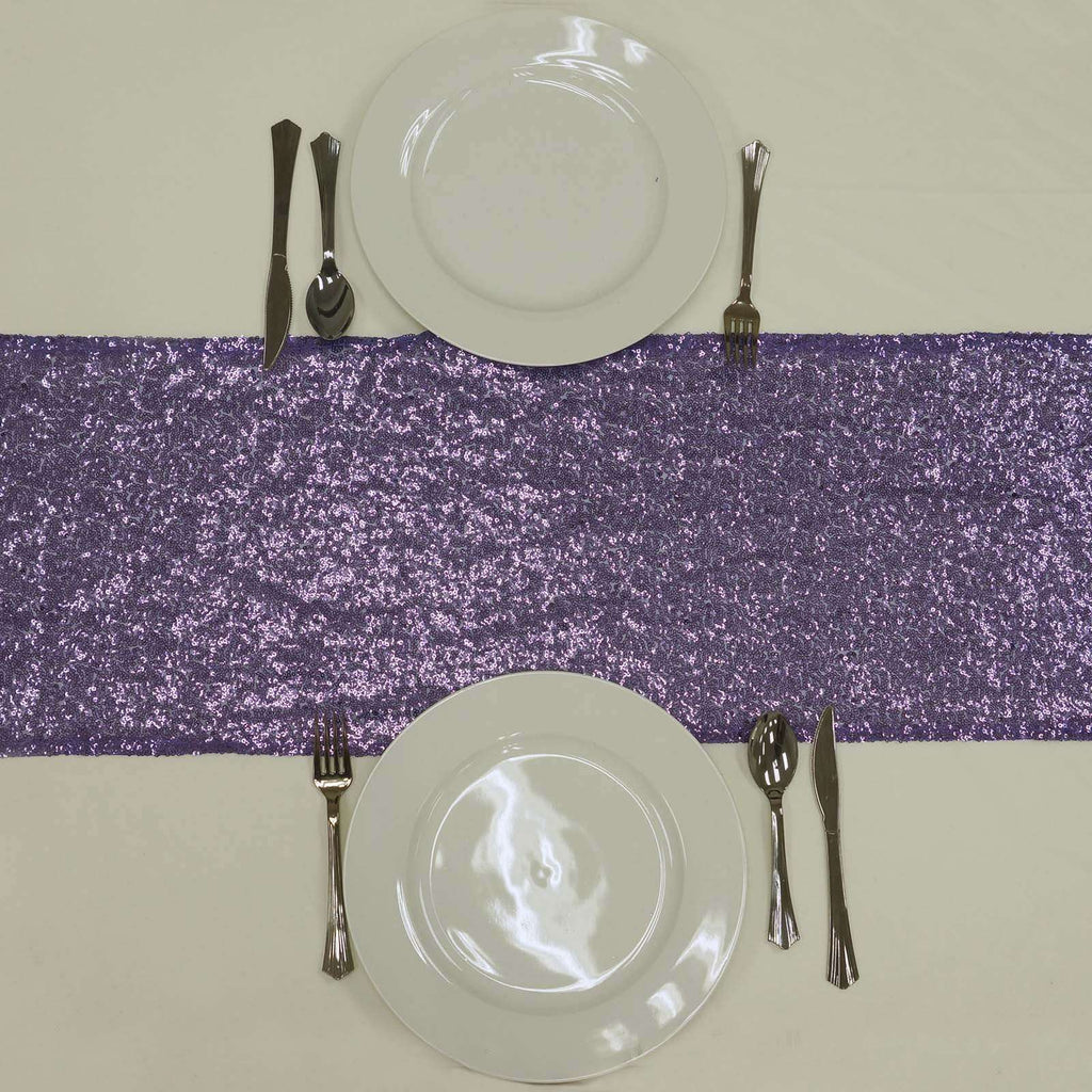 Purple Premium Sequin Table Runners - Table Top Wedding Catering Party Decorations - 108x12""