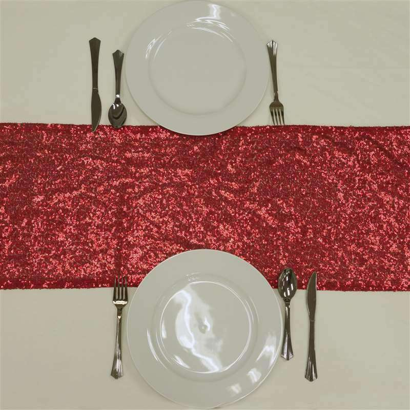 Red Premium Sequin Table Runners - Table Top Wedding Catering Party Decorations - 108x12""