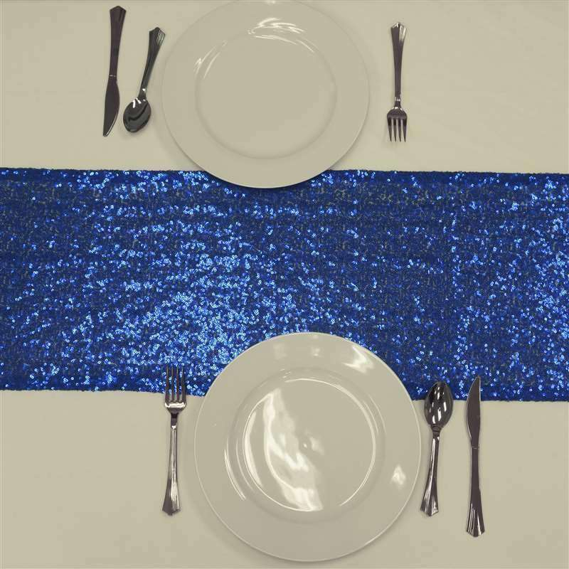 Royal Blue Premium Sequin Table Runners - Table Top Wedding Catering Party Decorations - 108x12""