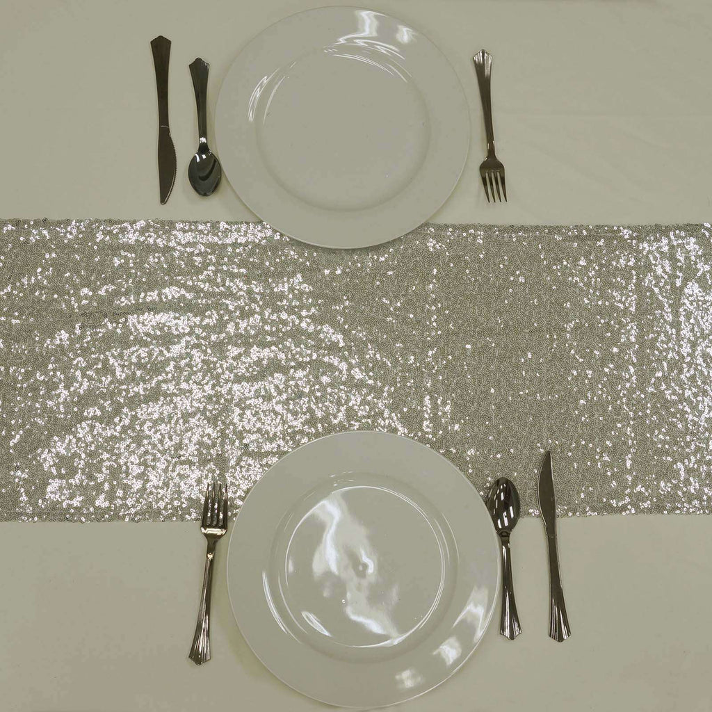 Silver Premium Sequin Table Runners - Table Top Wedding Catering Party Decorations - 108x12""
