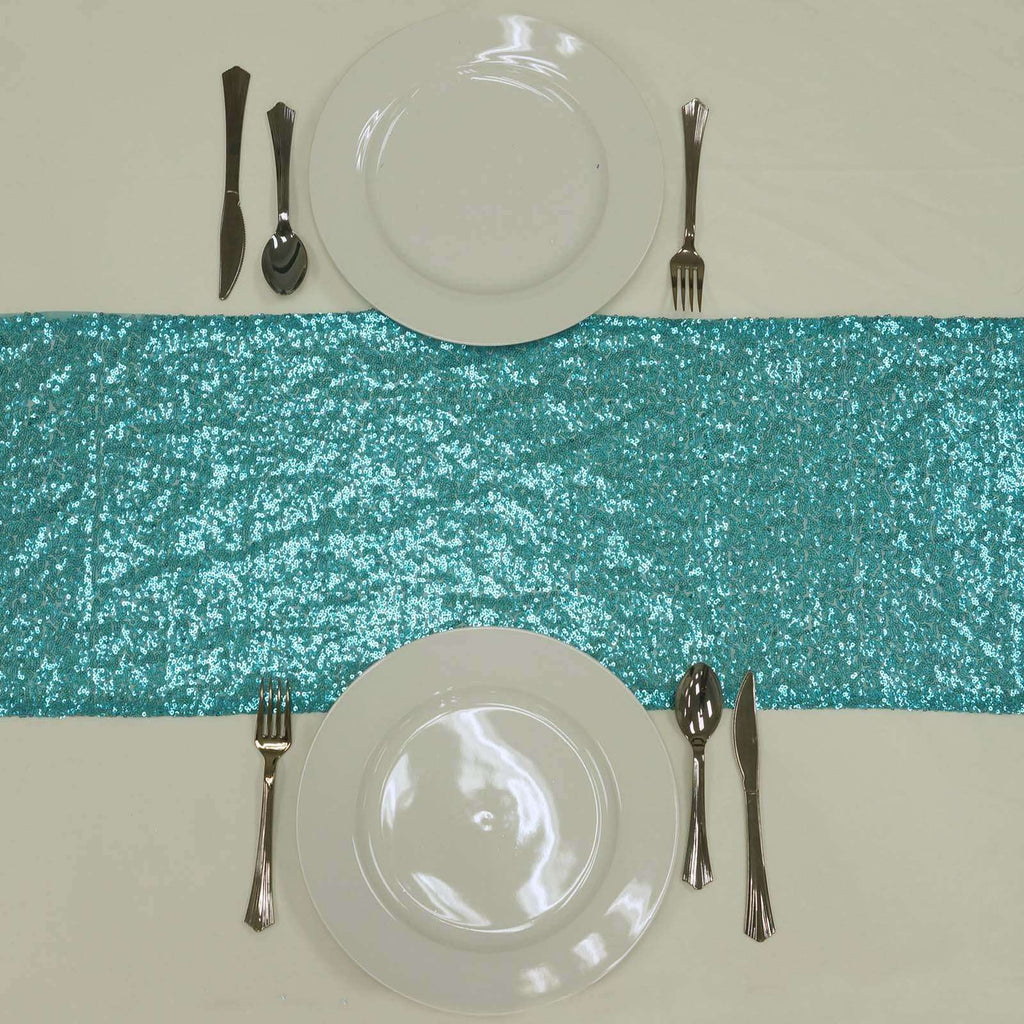 Turquoise Sequin Table Runners - Table Top Wedding Catering Party Decorations 108x12""