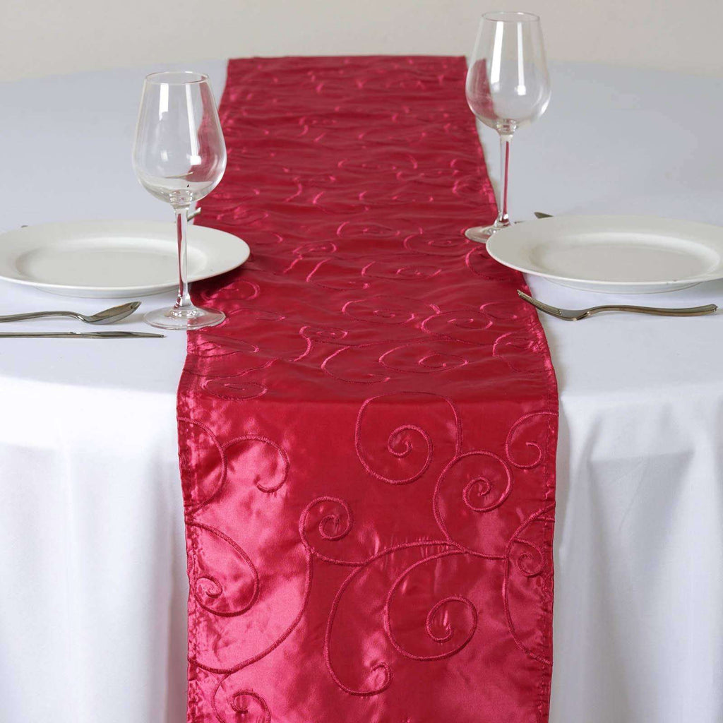 "12""x108"" Taffeta Wholesale Table Runner With Satin Embroidery For Table Top Wedding Party Event - FUSHIA"