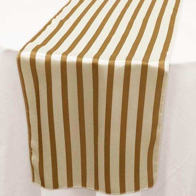 Wholesale White Gold Stripes Satin Table Runner For Wedding Party