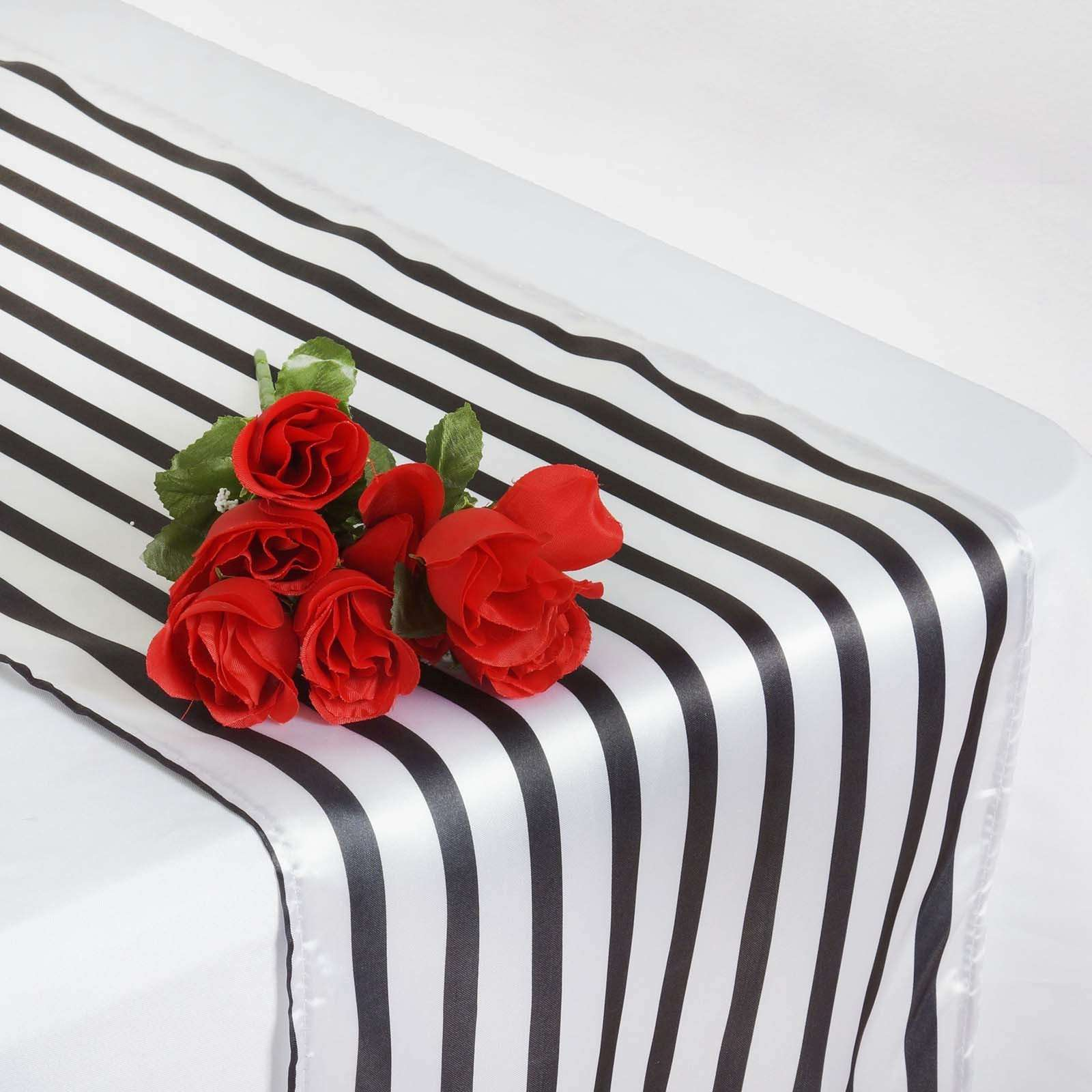 Wholesale Black White Stripes Satin Table Runner For Wedding Party