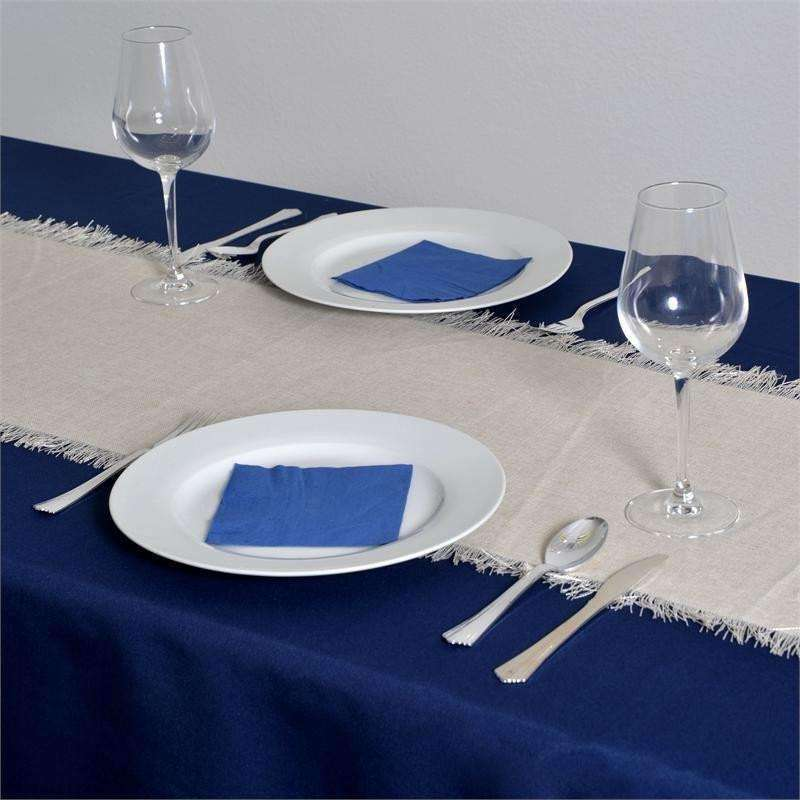 Fringed Faux Burlap Table Runner Natural