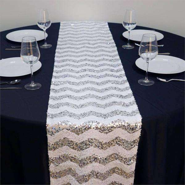 "14"" x 108"" Silver/White Chevron Dual Tone Sequin Table Runners"