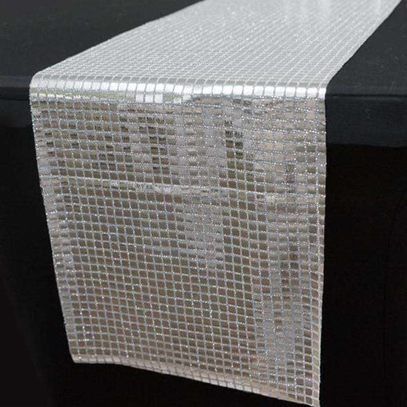 "Wholesale Silver Mirror Foil Table Runner Table Runner For Wedding Party Table Decoration - 12""x108"""