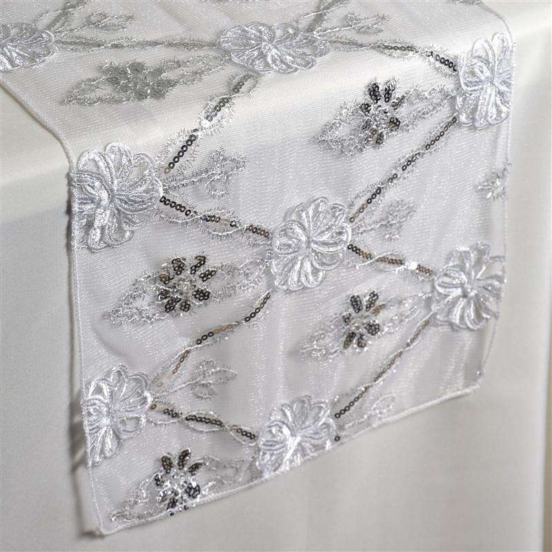 Extravagant Fashionista Style Table Runner - White Lace Netting
