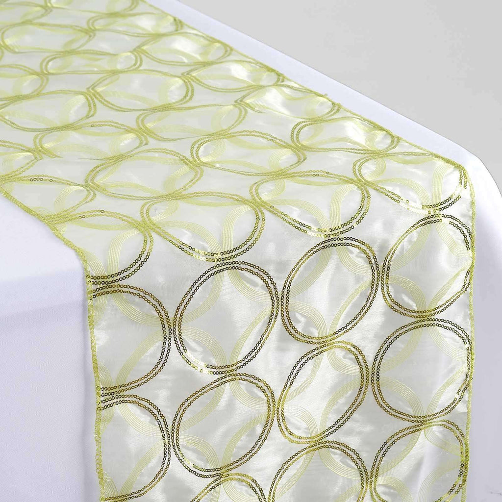 Tea Green Sequin Circle Designs Table Runners - Table Top Wedding Catering Party Decorations - 108x12""
