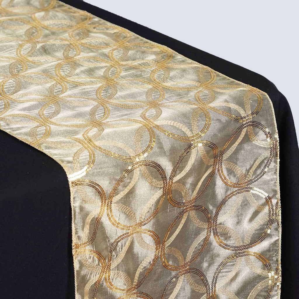 Gold Sequin Circle Designs Table Runners - Table Top Wedding Catering Party Decorations - 108x12""