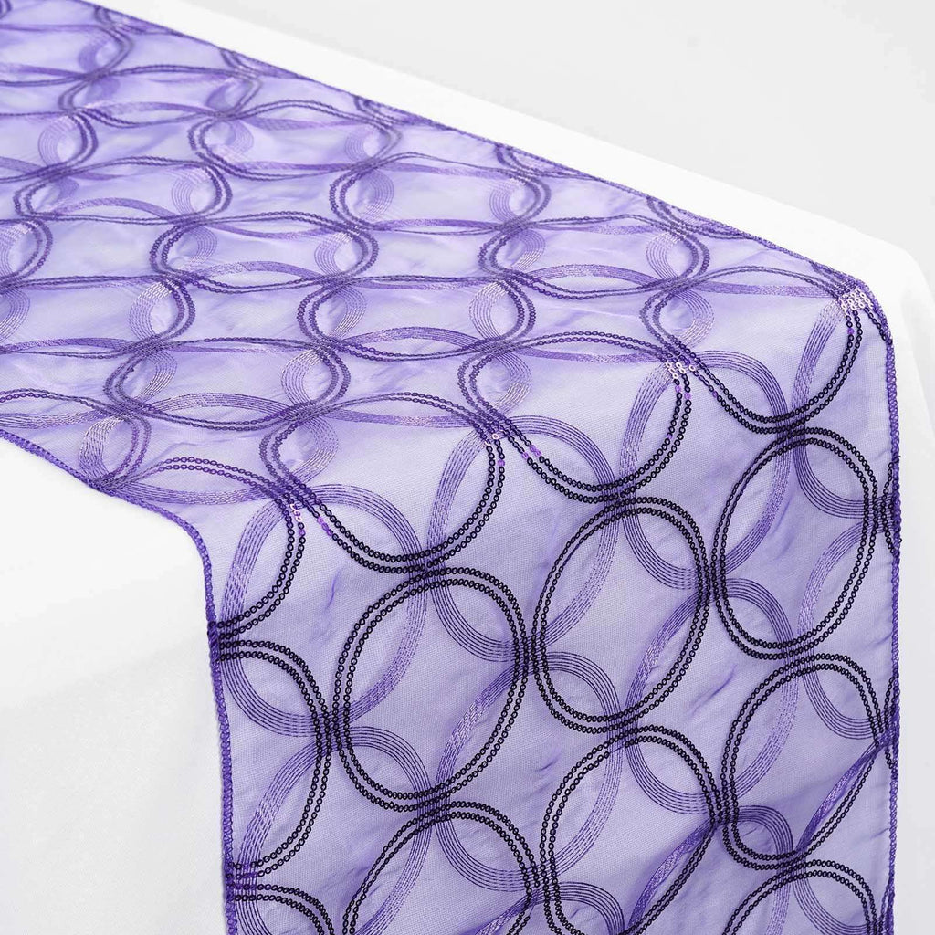 Purple Sequin Circle Designs Table Runners - Table Top Wedding Catering Party Decorations - 108x12""