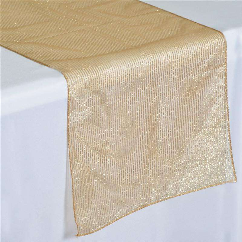 Dazzling Gold Organza Glittered Pinstripe Table Runner Party Decoration 14 X 108 Chaircoverfactory