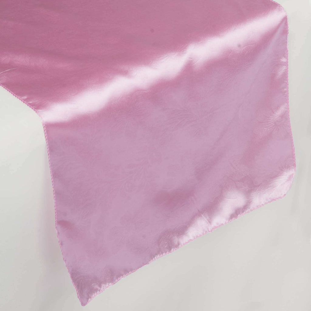 Lily Embossed Satin Table Runner - Pink