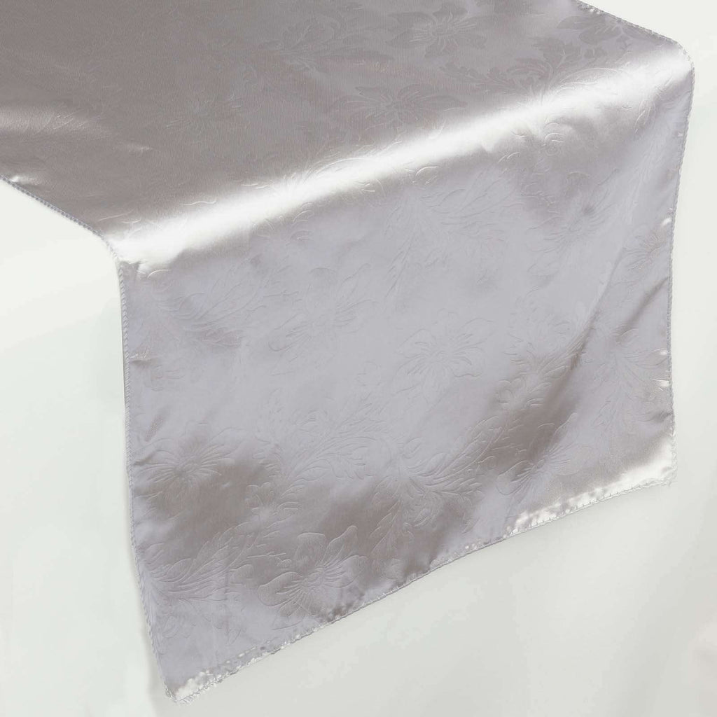 Lily Embossed Satin Table Runner - Silver