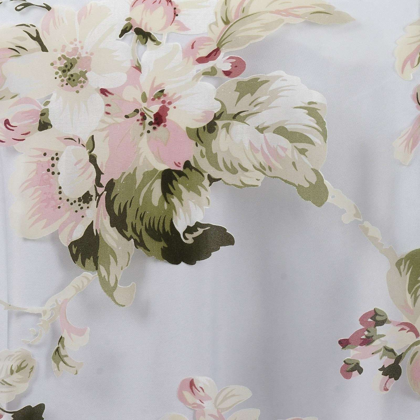 White Sheer Organza Runner With Blush Rose Design For Table Top