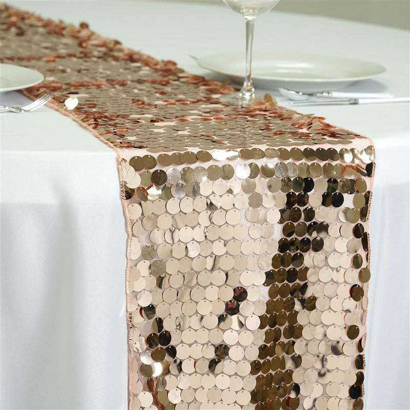 Premium Blush Payette Sequin Table Top Runners Wedding Catering Party Decorations  108x13""