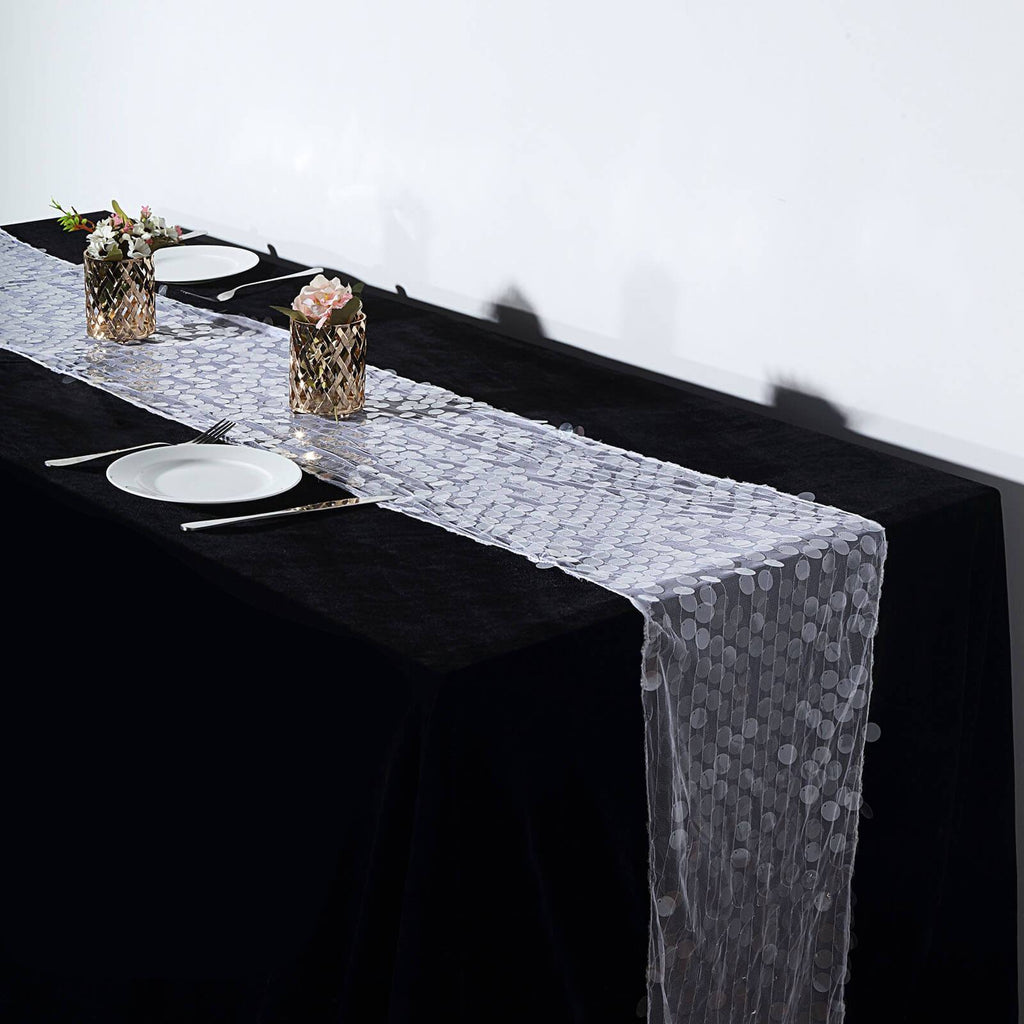 "13""x108"" Clear Premium Payette Sequin Table Top Runners"