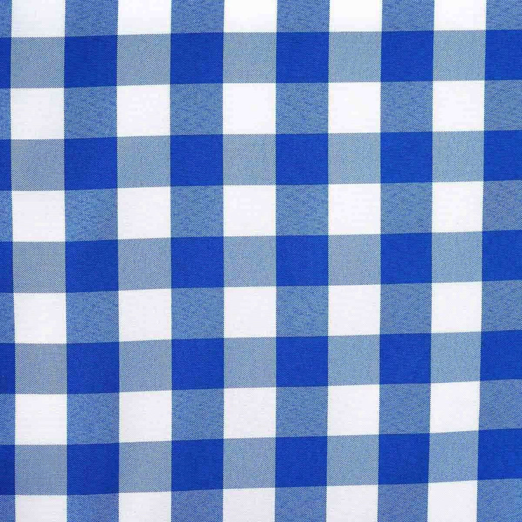 Wholesale Gingham Checkered Polyester Dinner Restaurant Table Top Wedding Catering Party Runner - WHITE / BLUE - 14x108""