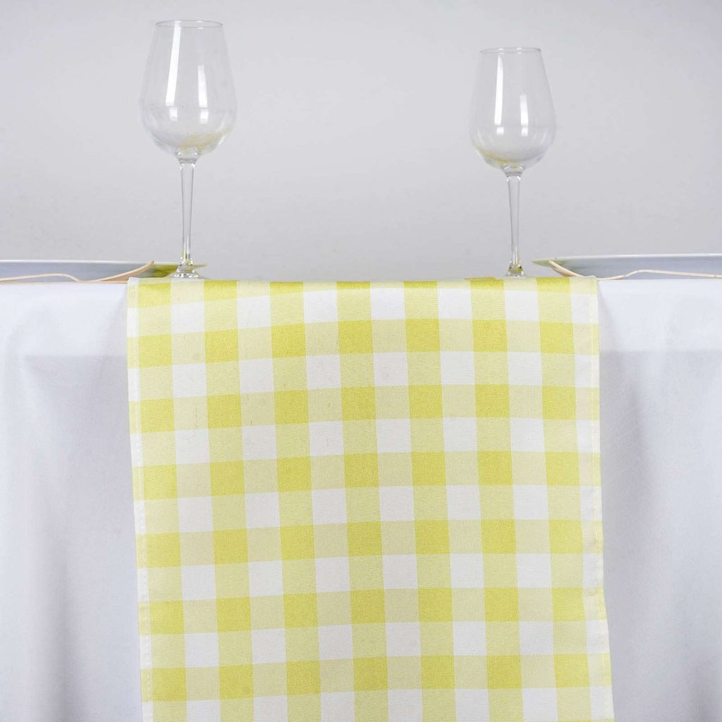 Wholesale Gingham Checkered Polyester Dinner Restaurant Table Top Wedding Catering Party Runner - WHITE / YELLOW - 14x108""