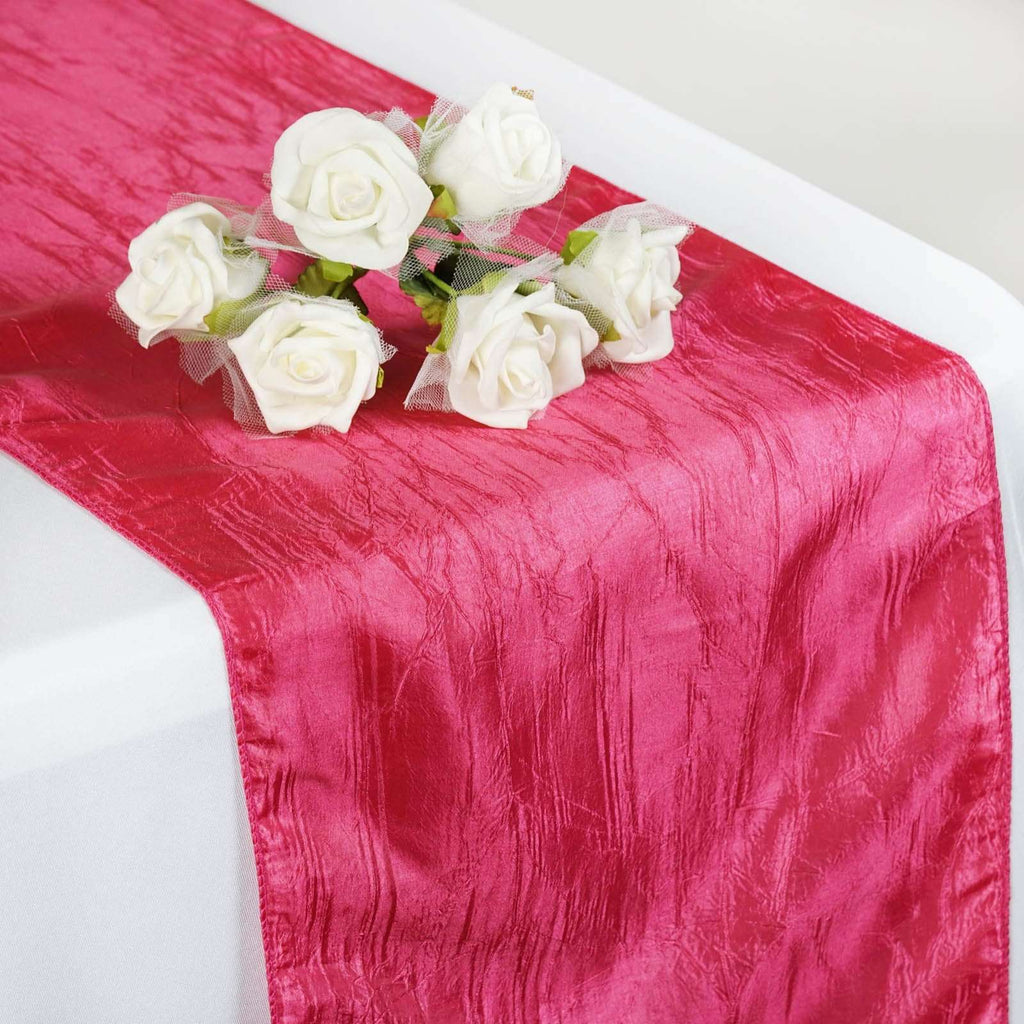 Table Runner Taffeta Crinkle - Fushia