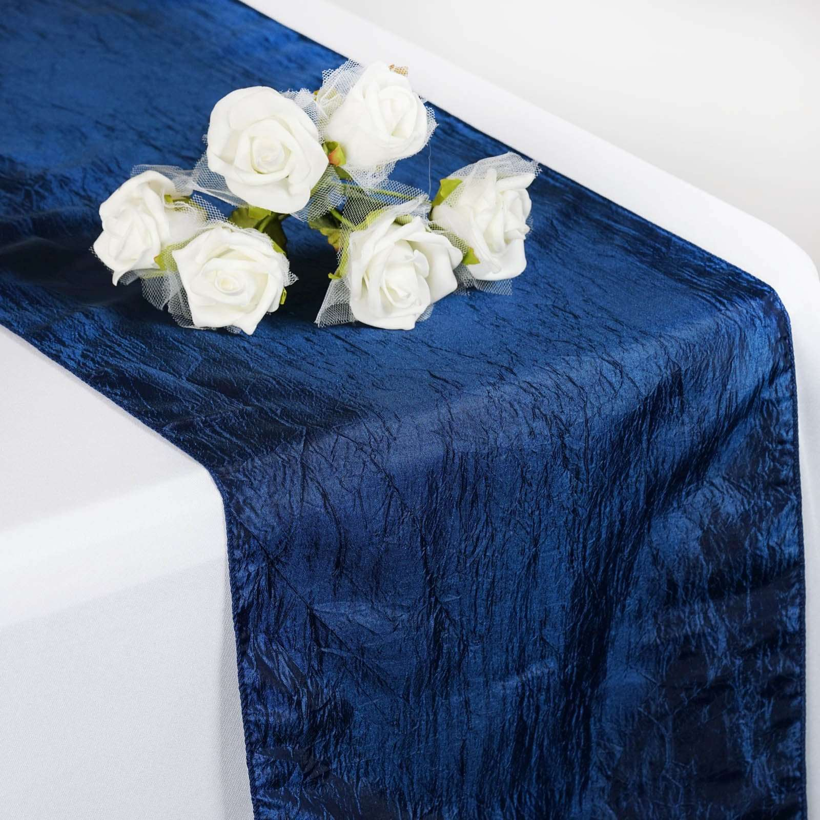 Wholesale Navy Blue Taffeta Crinkle Table Runner For Wedding Party Event Table Decoration