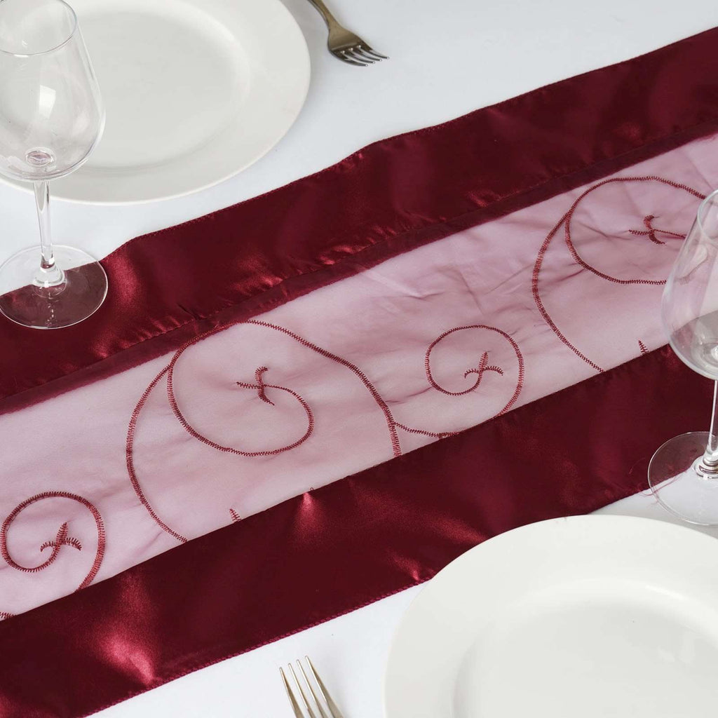 Table Runner Embroider - Burgundy