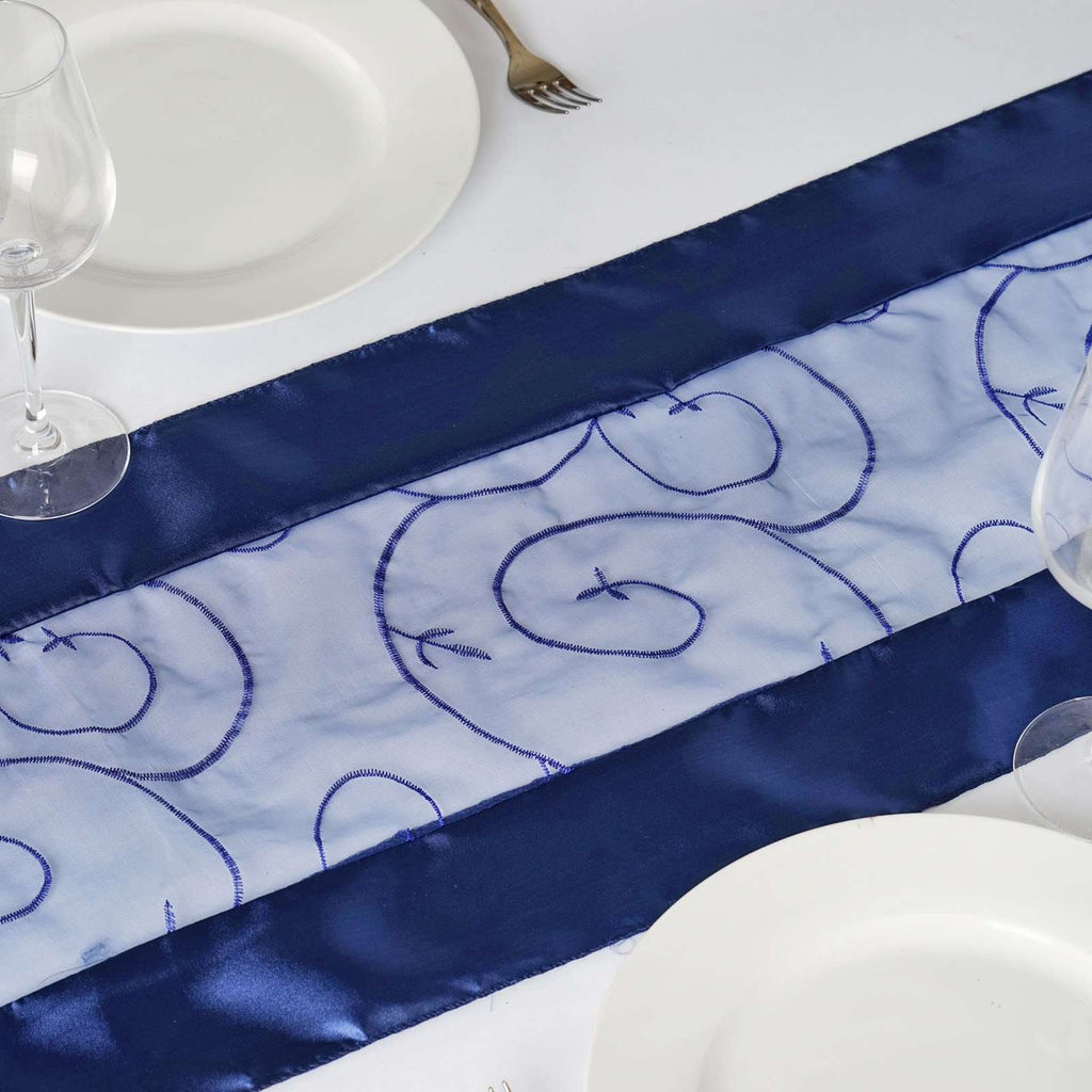 Table Runner Embroider - Navy