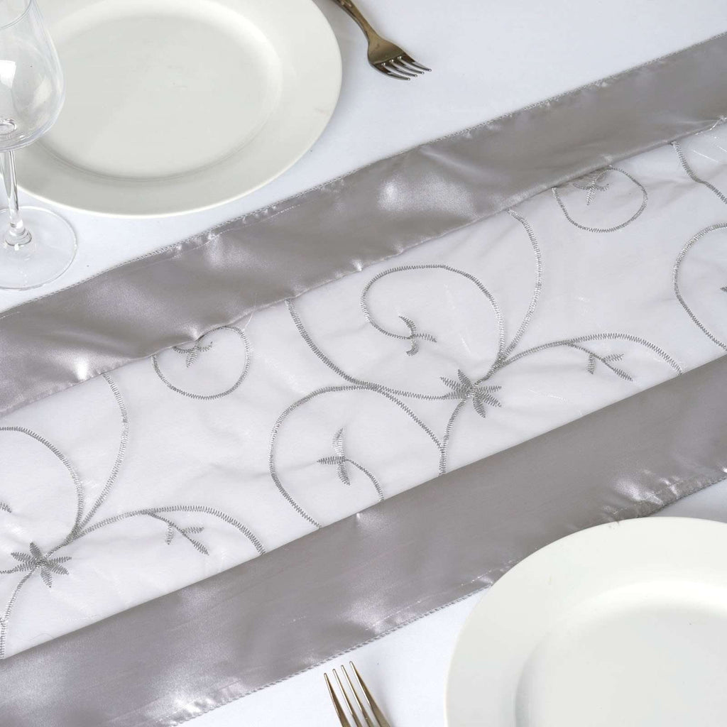 Table Runner Embroider - Silver