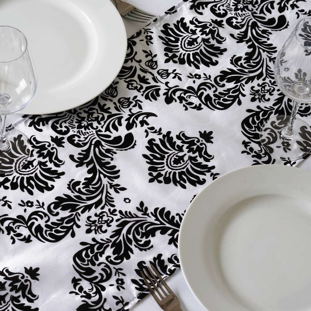 Table Runner Flocking - White / Black