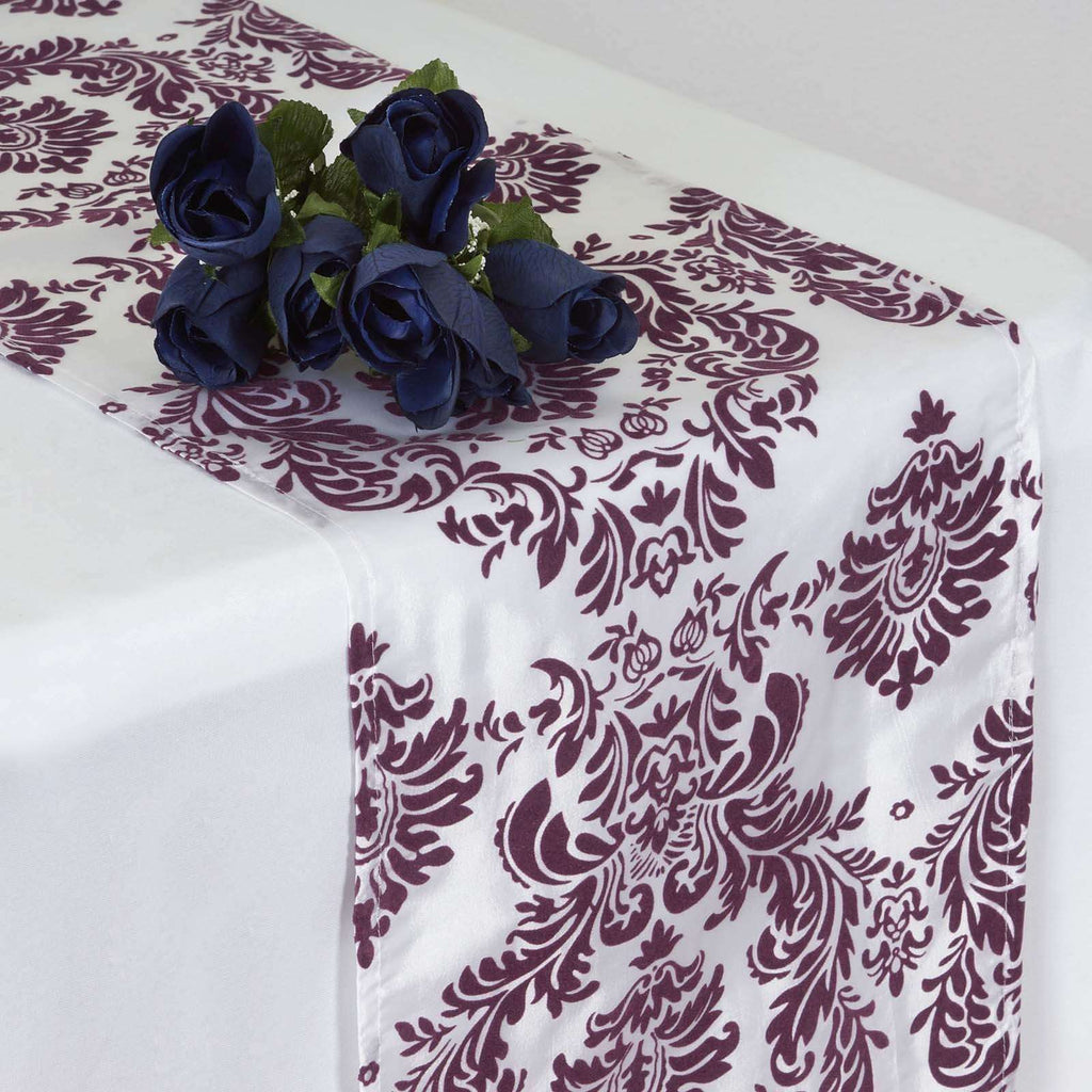 Table Runner Flocking - White / Dark Eggplant