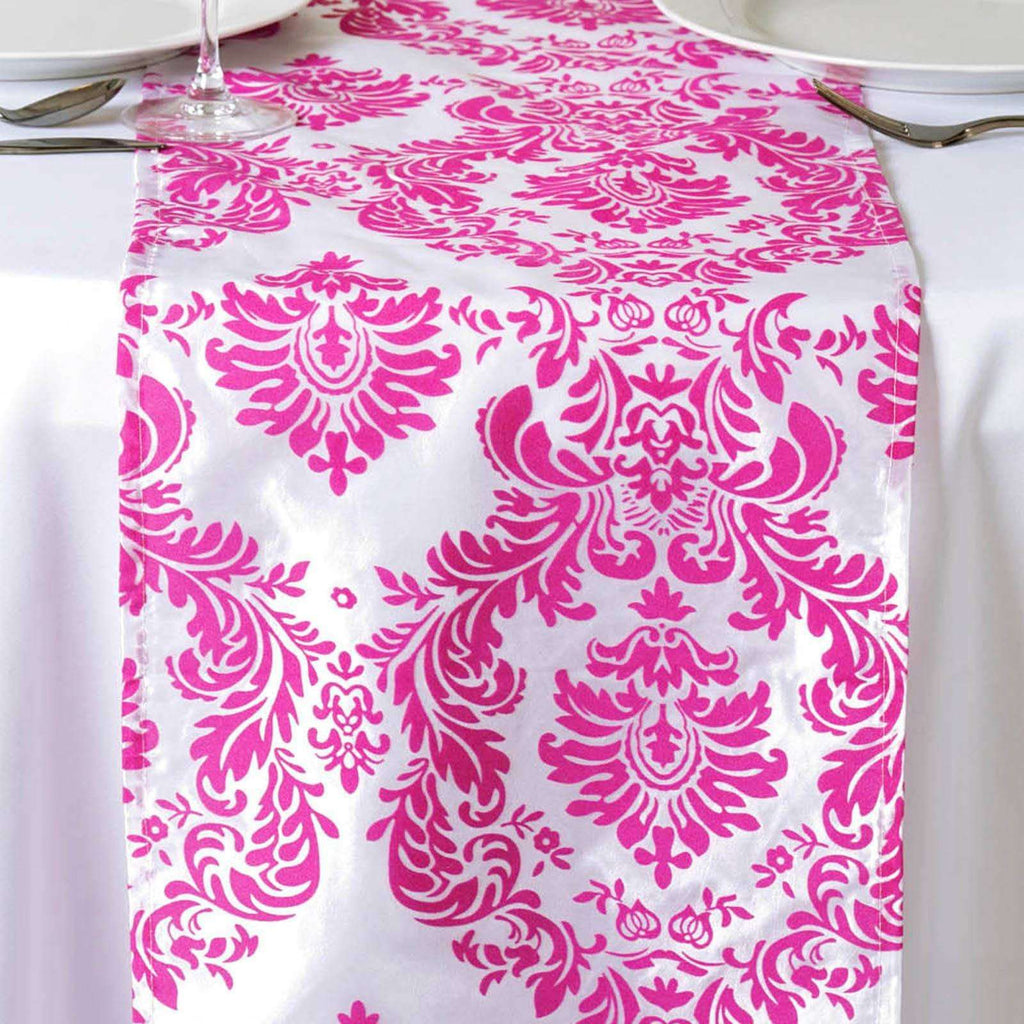 Table Runner Flocking - White / Fushia