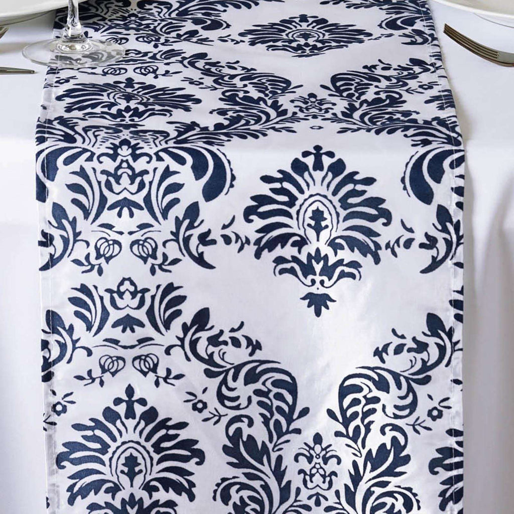 Table Runner Flocking - White / Navy Blue