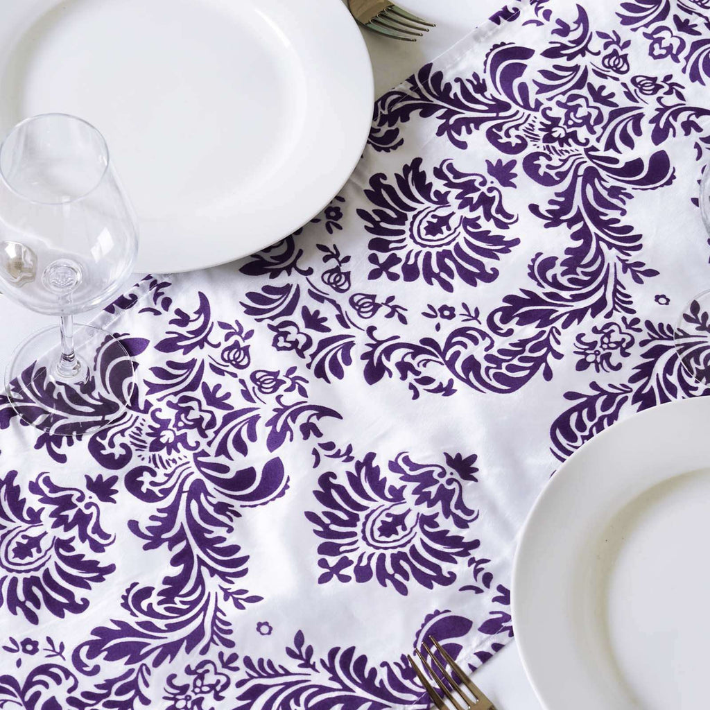 Table Runner Flocking - White / Purple