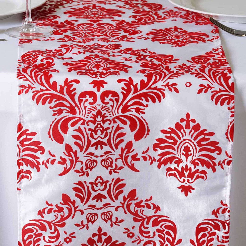 Table Runner Flocking - White / Red