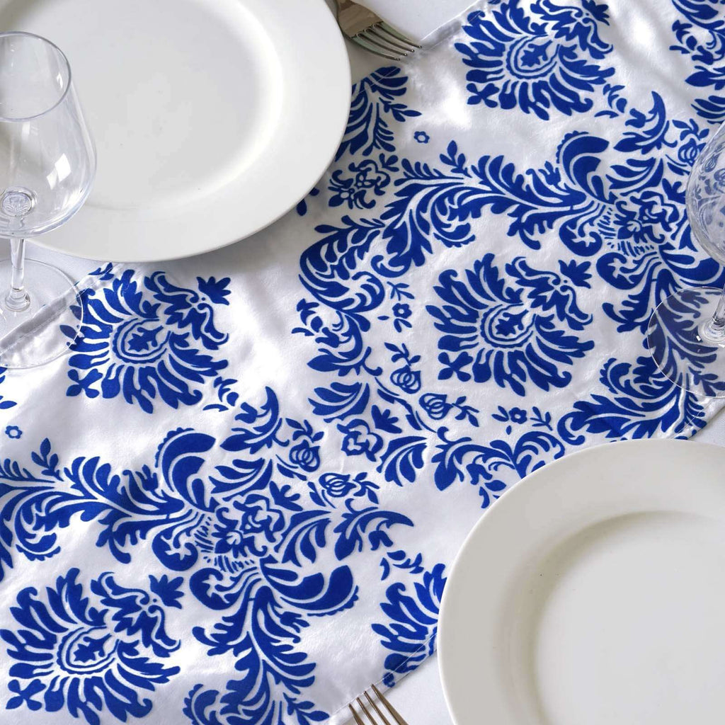 Table Runner Flocking - White / Royal Blue