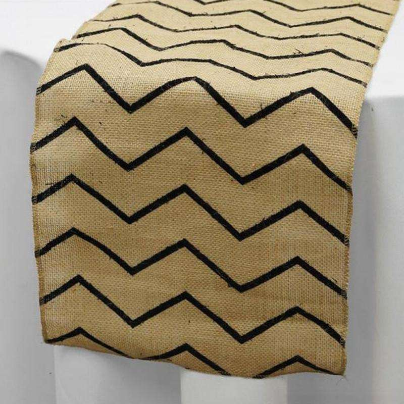 Chevron Rustic Burlap Runner - Natural Tone w/ Black