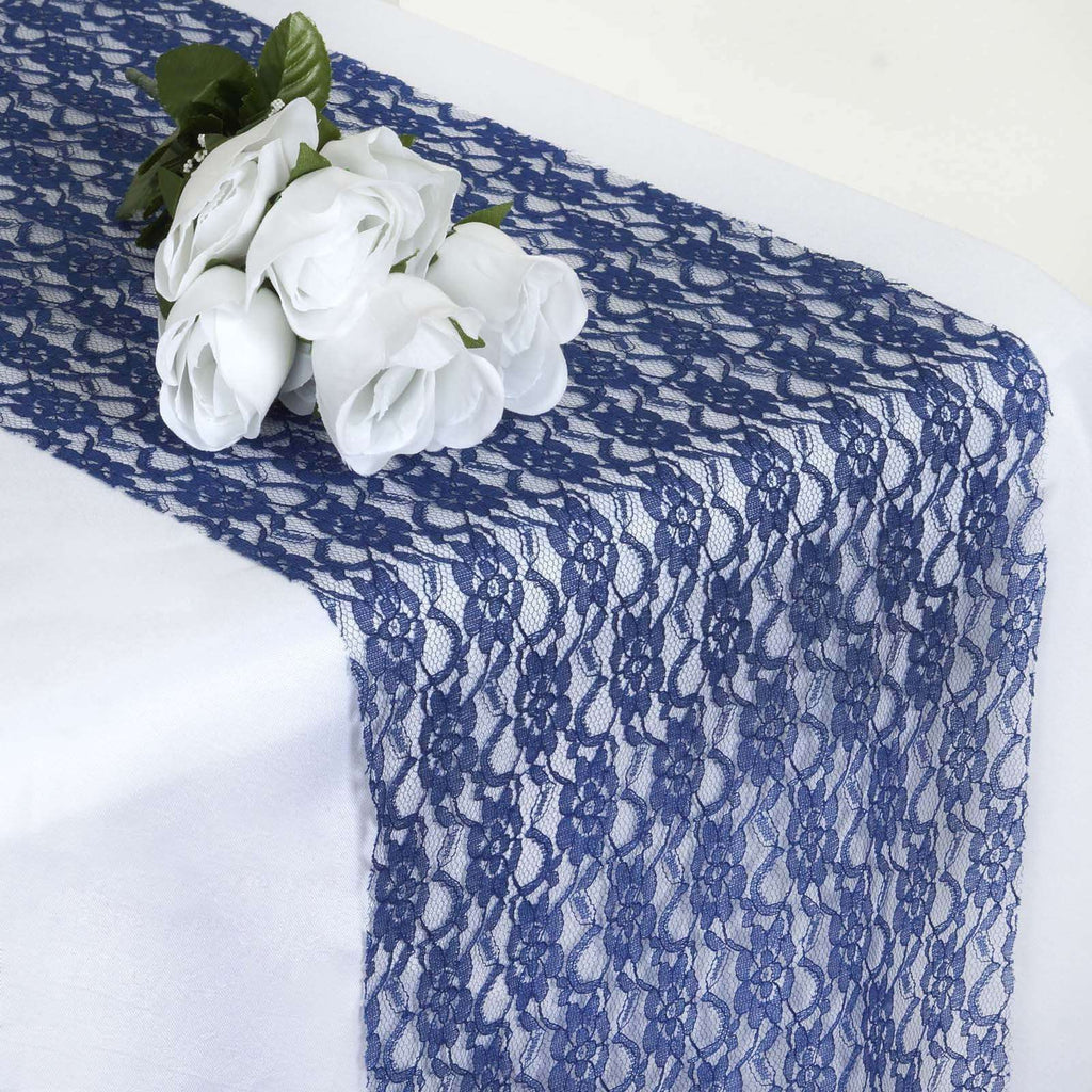 Floral Lace Runner - Navy Blue
