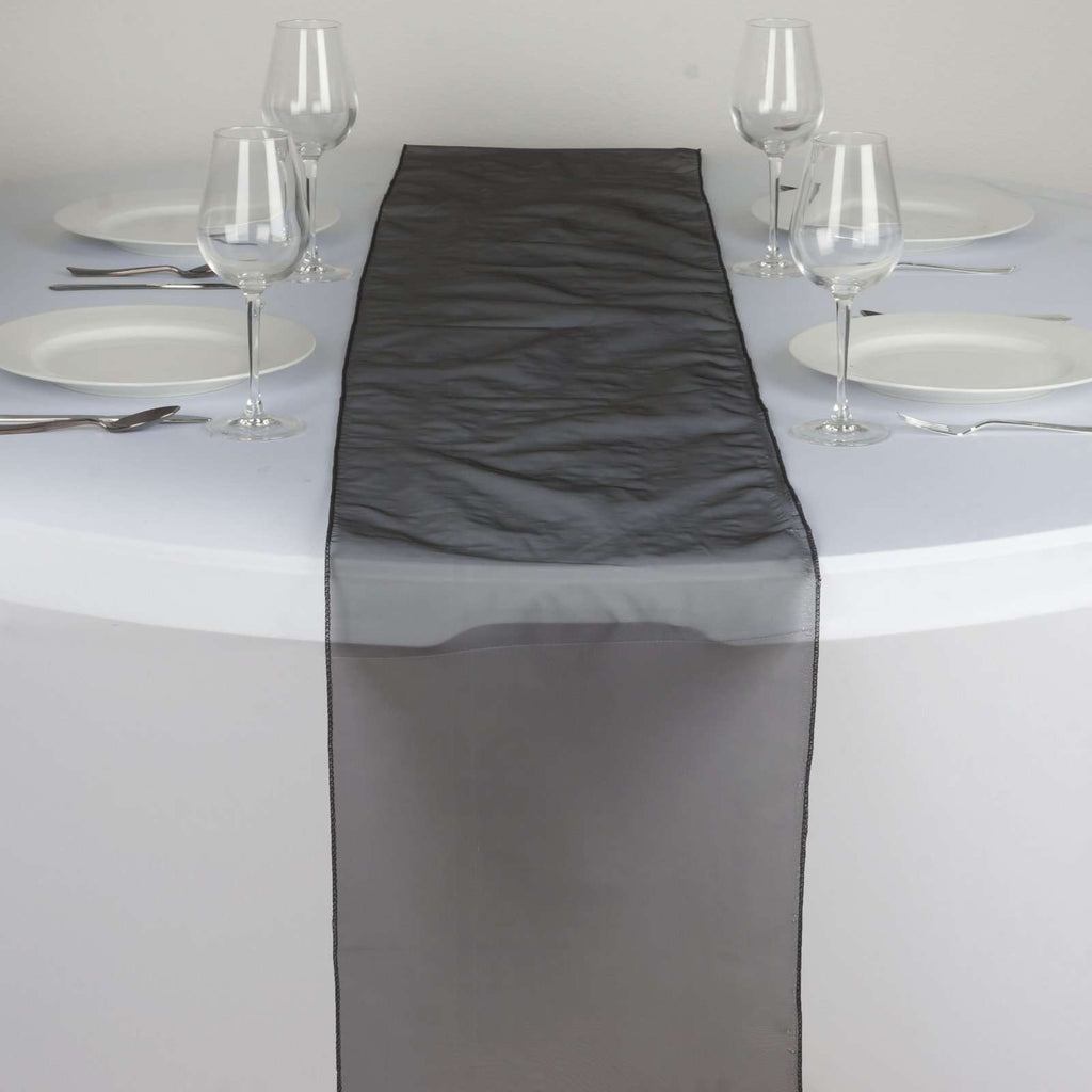Table Runner Organza - Black