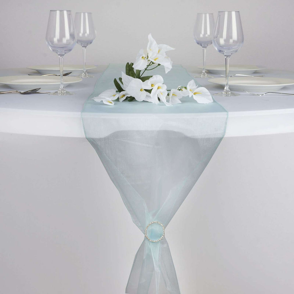 "14"" x 108"" Light Blue Organza Runner For Table Top Wedding Catering Party Decoration"