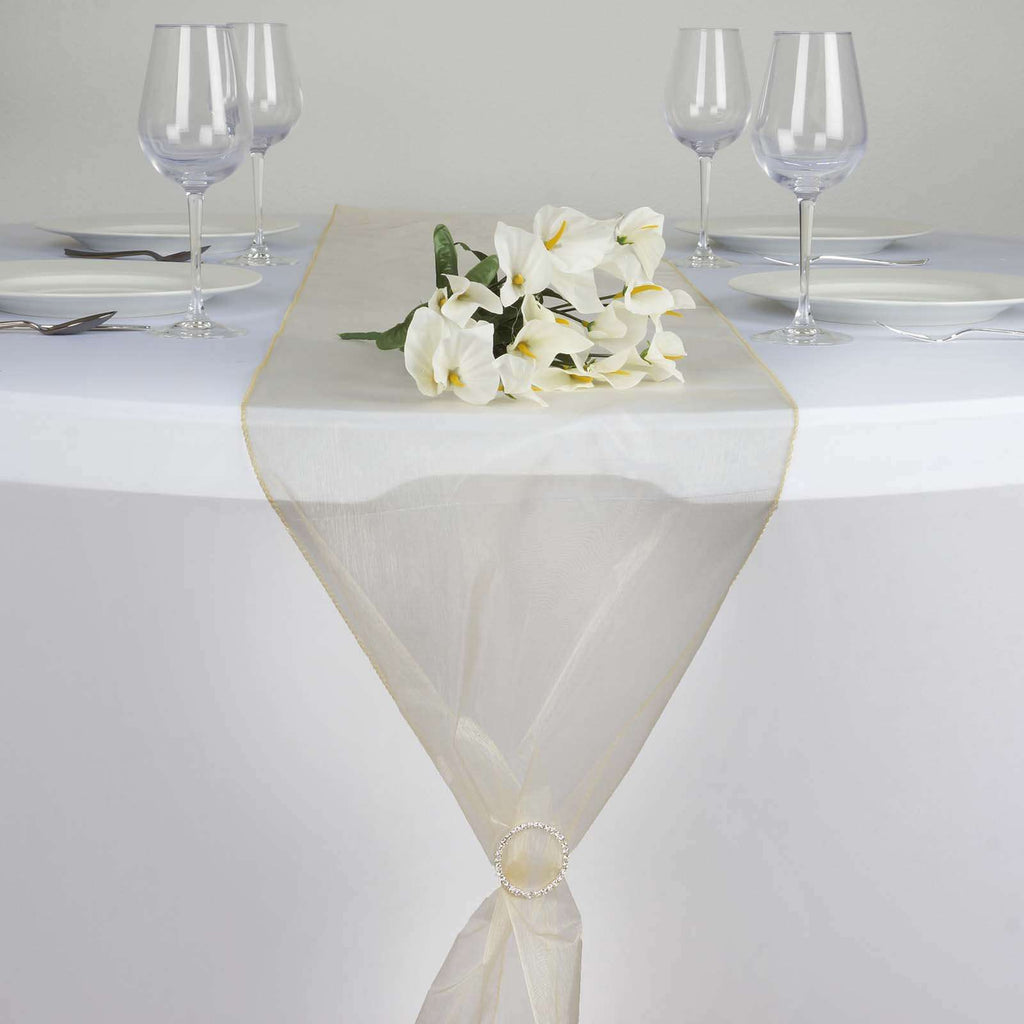 "14"" x 108"" Champagne Organza Runner For Table Top Wedding Catering Party Decoration"