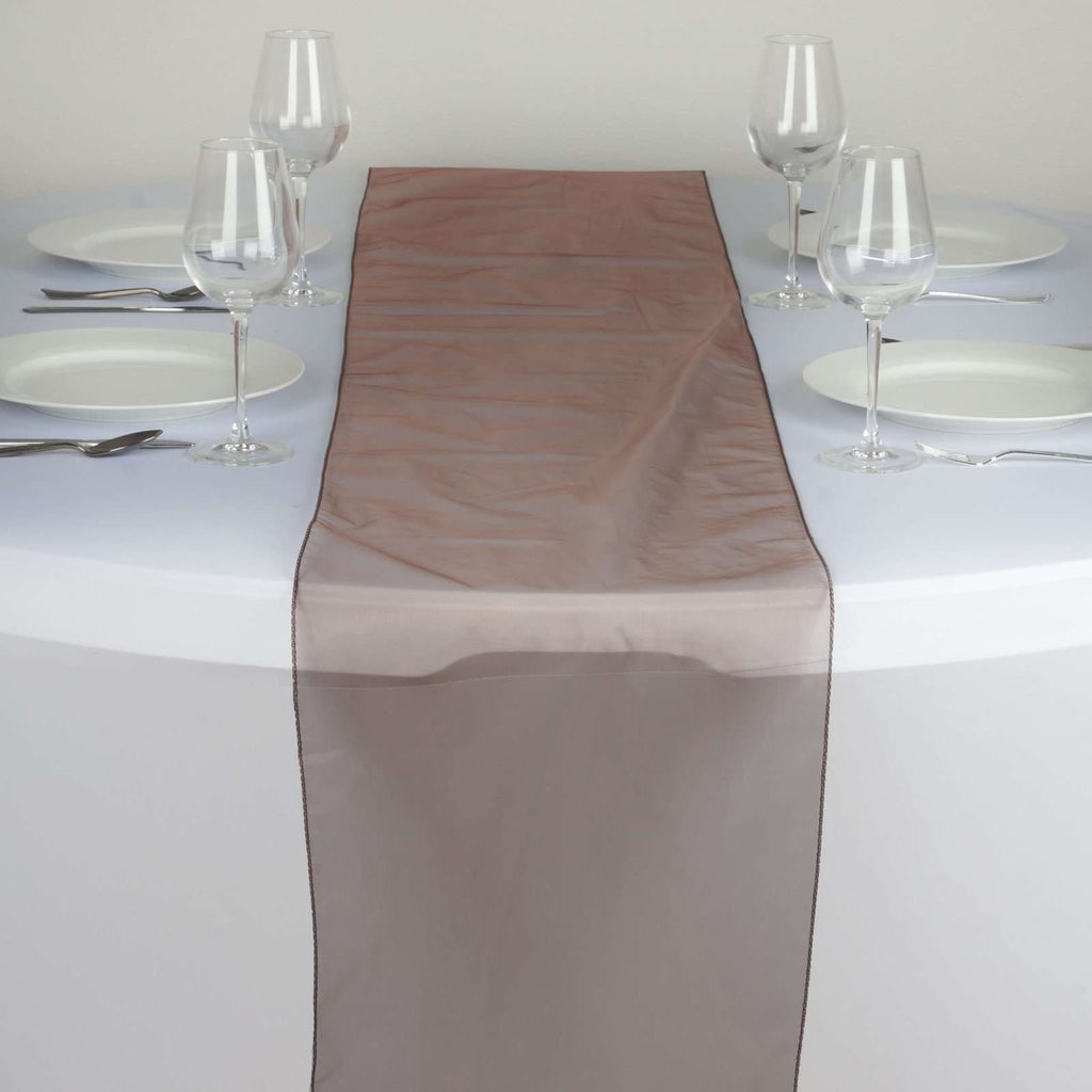 Table Runner Organza - Chocolate