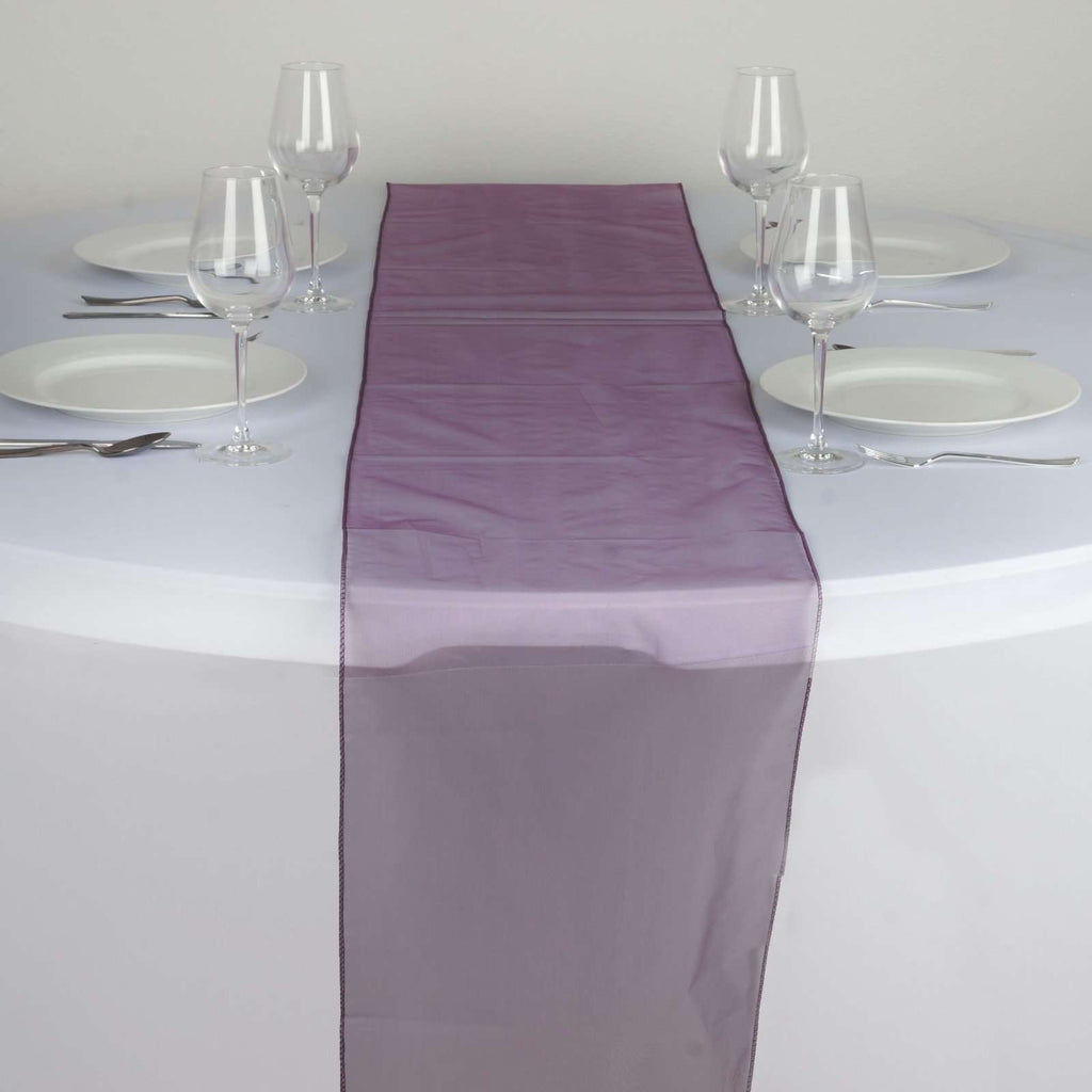 Table Runner Organza - Eggplant