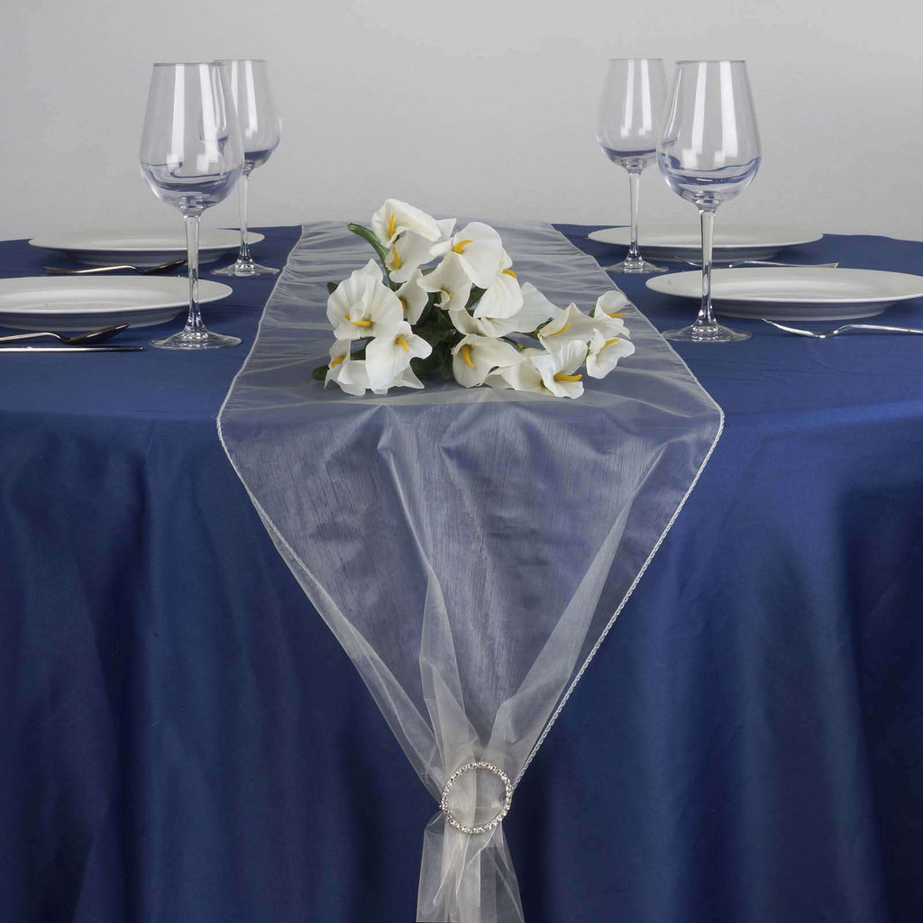 "14"" x 108"" Ivory Organza Runner For Table Top Wedding Catering Party Decoration"