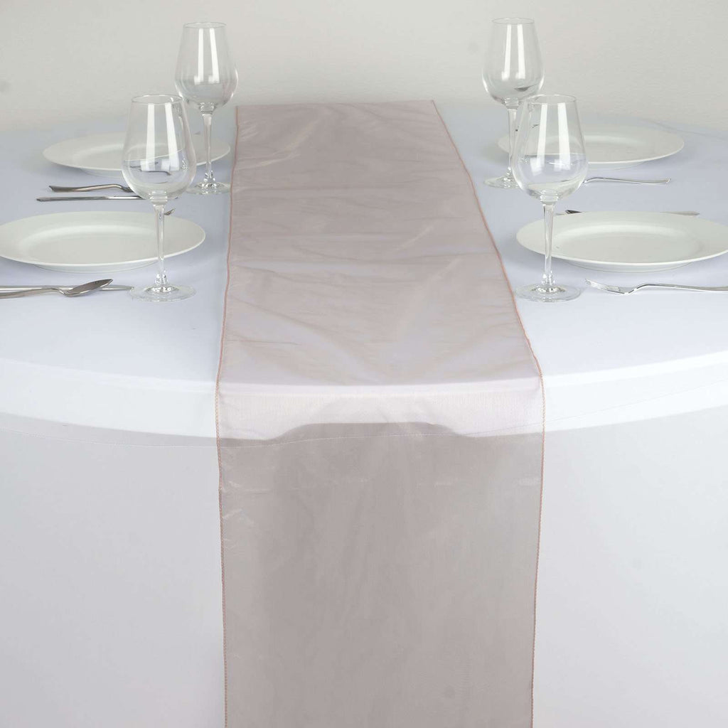 "14"" x 108"" Mauve Organza Runner For Table Top Wedding Catering Party Decoration"