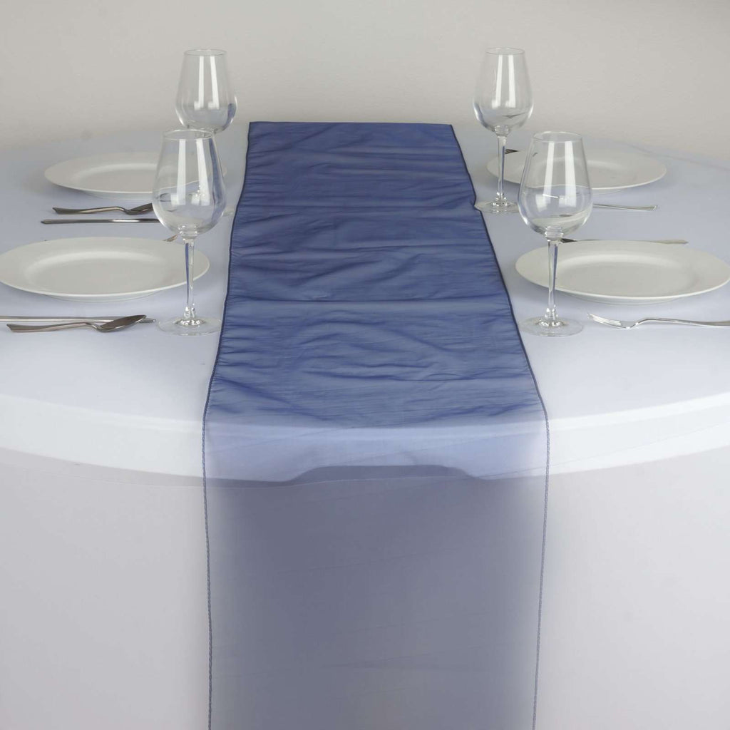 Table Runner Organza - Navy Blue