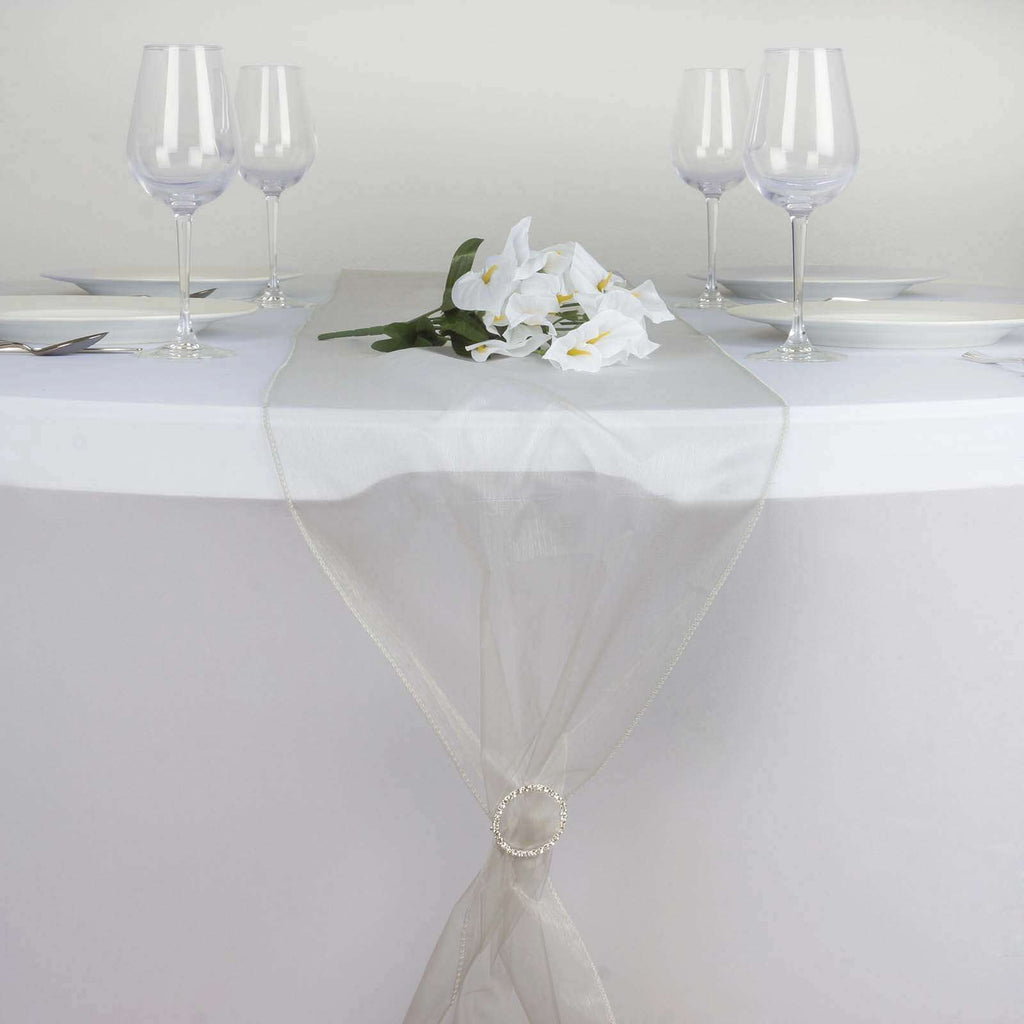 "14"" x 108"" Silver Organza Runner For Table Top Wedding Catering Party Decoration"