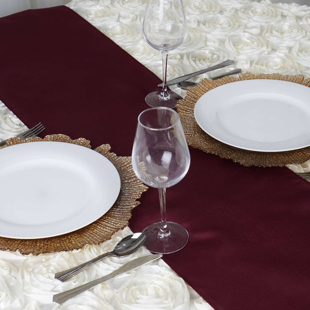 BURGUNDY Polyester Runner - Table Top Wedding Catering Party Decorations