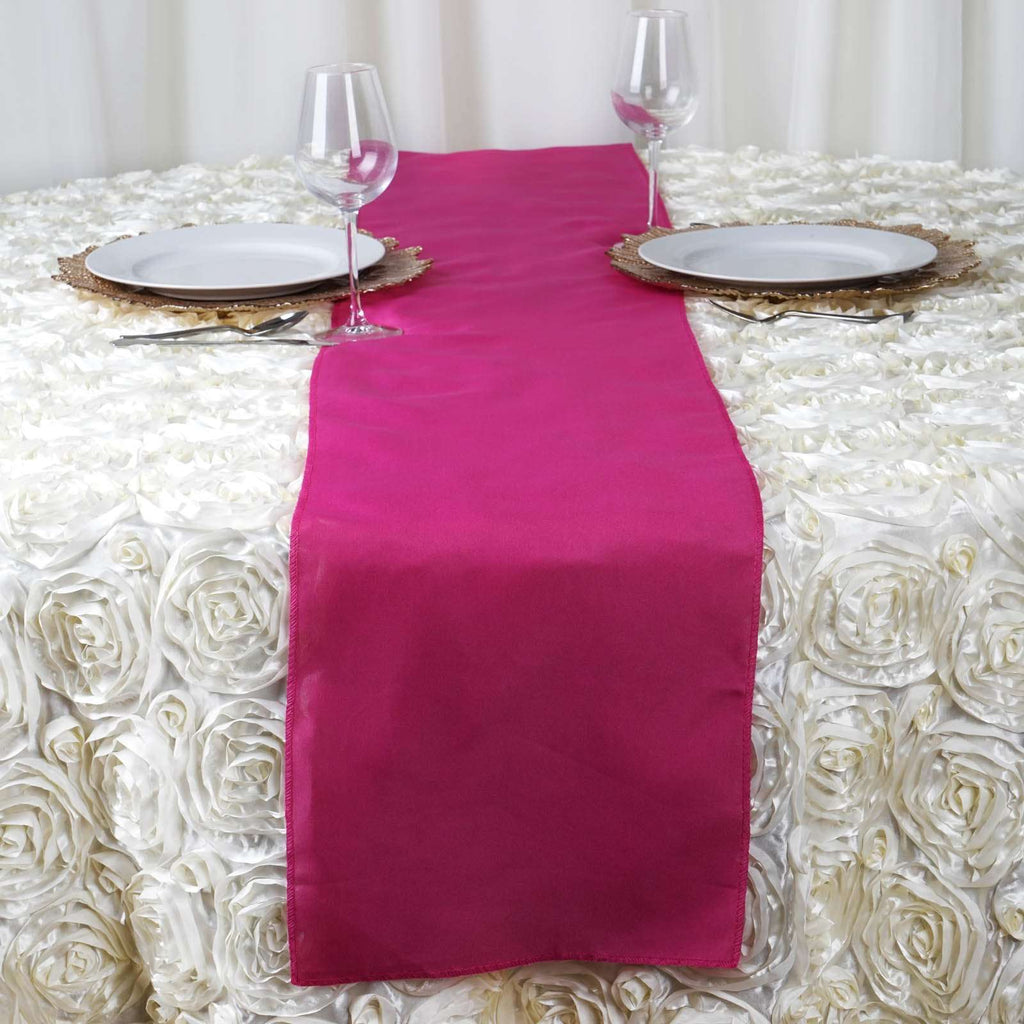 "12""x108"" Fuchsia Polyester Table Runner"