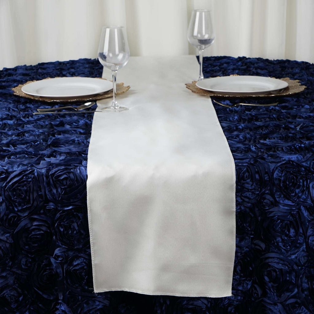 "12""x108"" Ivory Polyester Table Runner"