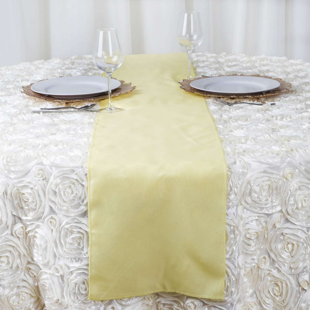 "12""x108"" Yellow Polyester Table Runner"